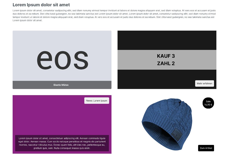 Teaser und Banner für eine Erlebniswelt (mit frei definierbarem Text & Schaltfläche uvm.)