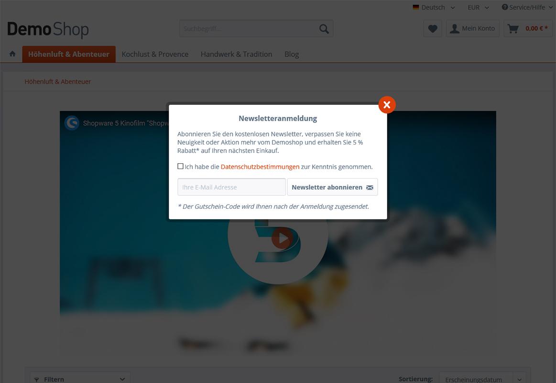 Individuelle Newsletterregistrierung in einer Modalbox (über Footer, über Zeitverzögerung oder beim Verlassen der Seite)